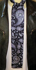 SUPERNOVA Skinny Black Tonal Paisley Silk Mod Scarf Indie Scooter Exclusive