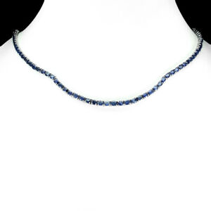 Heated Oval Blue Sapphire Kanchanaburi 4x3mm 925 Sterling Silver Necklace 20 Ins