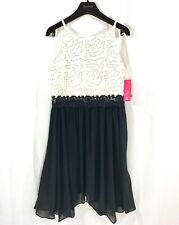 BCX Girls Black and White Holiday Formal Dress w/ Lace and Sequin Size 16