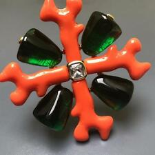 MASSIVE KJL Kenneth jay lane Maltese Cross Fx Coral Emerald Gold Plat Pin Brooch