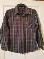 BULLHEAD Western Style Mens L Long Sleeve Plaid/Checks Gray Red Buttons Shirt