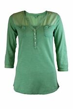 Ex Fat Face Button front Cotton Pocket Top Tee 3/4 Sleeve Mint Green 8-18