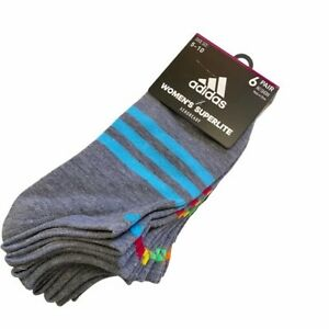 Adidas Women's Superlite No Show Socks 6 Pair Grey with Rainbow Stripes
