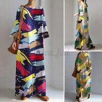 Women Oversized Long Sleeve O Neck Casual Loose Kaftan Baggy Maxi Dress Pullover