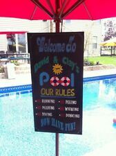 HAND PAINTED custom POOL RULES PERSONALIZED WOOD SIGN YOUR RULES & NAME