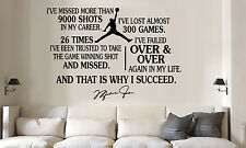 Michael Jordan jumpman succeed quote Vinyl Wall Decal/Words/Sticker large