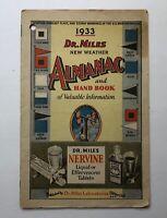 Vintage Handbook . 1933 . Dr. Miles New Weather Almanac & Handbook of Info *