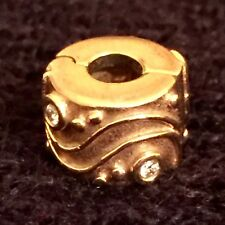 Orig. Pandora Armband Stopper / Clip mit Diamanten, 14 Karat Gold