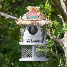 Tiki Lounge Hanging Metal Bird Feeder Nesting Box House Garden Decoration Art