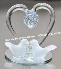 12 PC CRYSTAL WEDDING GLASS PARTY FAVORS BODA RECUERDOS HEART KISSING DOVE