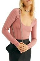 Free People Lucky You Scoop Neck Shirt Pink Copper Size M/L $48 NWT