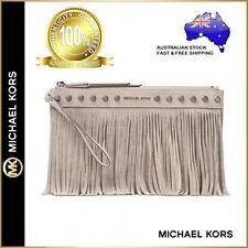 Genuine Michael Kors Billy Fringed Large Zip Clutch Bag Beige Suede Leather $199