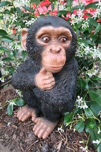 Chimp Monkey Sitting African Animal Statue Ornament Figurine Home Decor