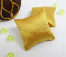 2PCS Yellow Gold Siilk Pillow Cushions Sofa Couch Bed 1/12 Dollhouse Miniature