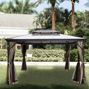 10'x10' Outdoor Patio Canopy Party Gazebo Shelter Hardtop w/ Mesh and Curtains