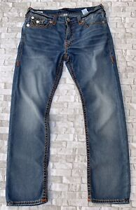 """True Religion Ricky Relaxed Straight Stretch Jeans 36"""" W & 32"""" L Excellent Con"""