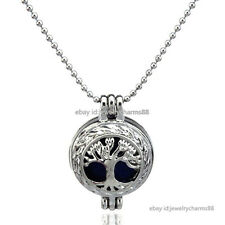 K23 Silver Tree of Life Locket Necklace Women Pearl Cage Steel Chain