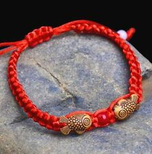 Feng Shui Red String Lucky Wooden Twin Fish Charm Bracelet for Good Luck Wealt A