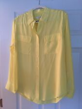 Equipment Signature Silk Long Sleeve Button Down Blouse In Yellow Size Medium