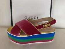 GUCCI Slingback 60 Pink Velvet Crossover Strap Sandals Shoes Foam Platform Wedge