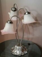 Vtg Frosted Pink Tulip Calla Lily 3 Shades Table Parlor Desk Light Lamp