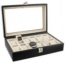 Dulwich Designs Black Genuine Leather 12 Watch Box with Beige Luxury Lining