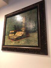 Vtg Bernard Buffet Style Still Life Oil Painting Mid Century Modern Op Art Frame
