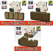 Vest builder pouches and holster  (Combo1) compatible with toy brick minifigures
