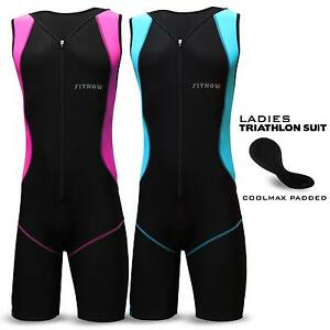 Ladies Women Triathlon Suit Padded Tri Swimming Yoga Cycling Running Fit Suit