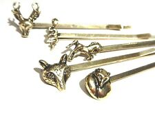 5 ANIMAL BOBBY PINS LOT hair clips bronze stag deer fox wolf snake horse NEW G6