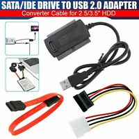 SATA/PATA/IDE to USB 2.0 Cable Power Adapter Converter For Hard Disk Drive DVD