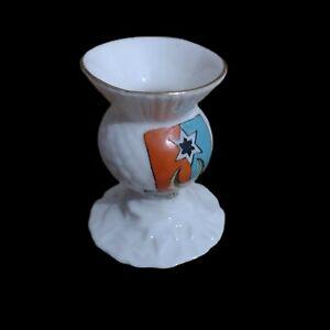 Vintage Arcadian Crested China Southsea Crest Porcelain Candle Holder