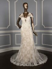 Monique Lhuillier Platinum Collection Geneva Lace Beaded Wedding Dress 10 $9185