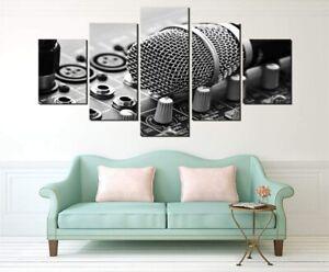 DJ Microphone Music 5 Piece canvas Wall Art Print Poster Home Decor