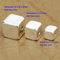 2 Sterling Silver Square Cube Beads 925 Silver Spacer Beads 6mm 8mm 10mm