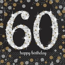 16X Negro 60 años Servilletas Negro Oro Plata 60 cumpleaños vajilla servilletas