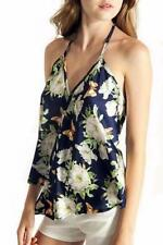 Polyester Halter Floral Tops & Blouses for Women