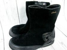 Clarks Black Girls Suede Boots Size 8F EU 25 Patent Leather Winter EXC CON Pink