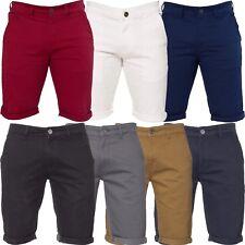 Enzo Hombre Chino Pantalones Cortos Casual de Algodón Verano Medio Ajustado Slim