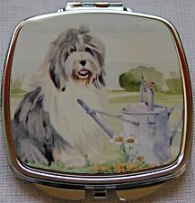 OLD ENGLISH SHEEPDOG WATERCOLOUR PRINT COMPACT MIRROR HANDBAG SANDRA COEN ARTIST