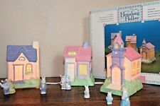 Hopalong Hollow 10 Piece Easter Village Set Hand Painted Houses Bunny Complete
