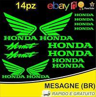 Kit 14pz. adesivi replica Honda Hornet moto casco colore Verde