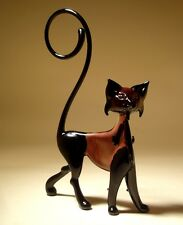 "Blown Glass ""Murano"" Art Figurine Animal Black and Purple Cat with Curled Tail"