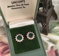 Vintage Jewellery Gold Earrings Emeralds White Sapphires Antique Deco Jewelry