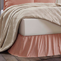 KENDRA STRIPE RED King Bed Skirt French Country Ticking Stripe Farmhouse Cotton