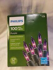 PHILIPS 100 Mini Lights Indoor/Outdoor PURPLE NEW Boxed Christmas