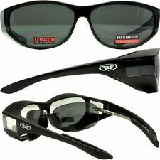 Motorcycle Saftey Sunglasses FIT OVER PRESCRIPTION RX GLASSES Fitover-FREE POUCH