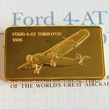 FORD 4-AT TRIMOTOR GOLD PLATED PROOF INGOT - jane's medallic register