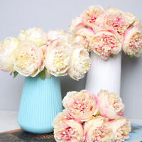 5 Heads Bouquet Artificial Silk Fake Large Peony Flowers Wedding Party Decor
