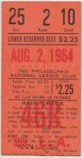 """PHILADELPHIA PHILLIES """"PHOLD"""" TICKET STUB VS.LA DODGERS AUGUST 2, 1964"""